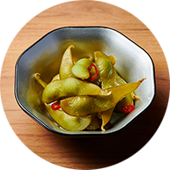 Pickled Edamame beans with sweet vinegar